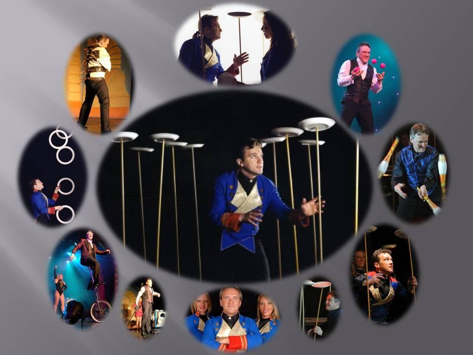 Circus skills performances by Andrew van Buren of Staffordshire