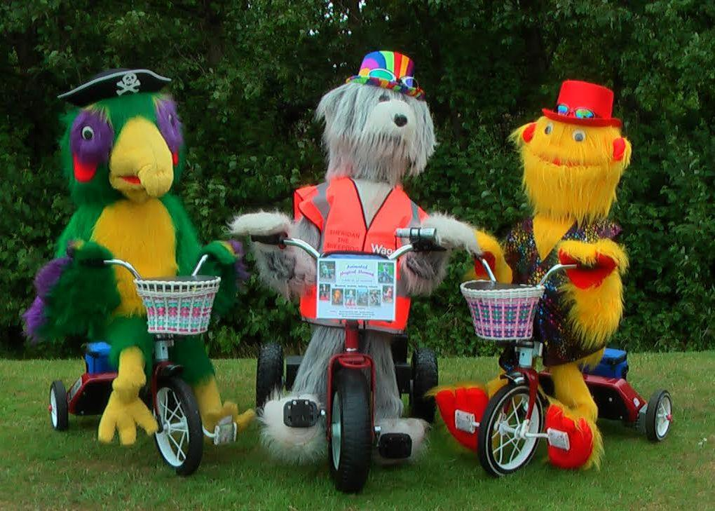 Beaky the Parrot on Trike, Sheridan the Dog on Trike, Murray the Mini Monster on Trike by Animated Magical Moments