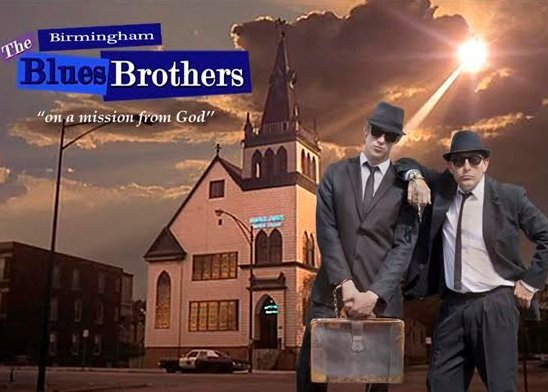 Blues Brothers tribute duo The Birmingham Blues Brothers with car