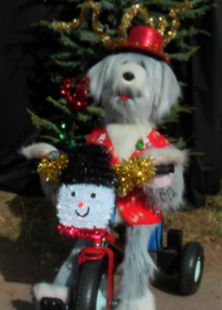 Sheridan as Christmas Sheepdog on Trike by Animated Magical Moments