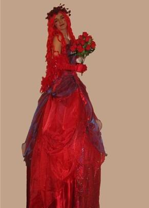 Valentina Red Costume on Stilts based in South Yorkshire and available through A.R.C. Entertainments