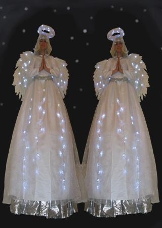 Light up Angels on Stilts based in South Yorkshire available through A.R.C. Entertainments