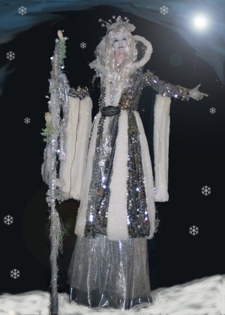 Ice Queen on Stilts based in South Yorkshire available through A.R.C. Entertainments