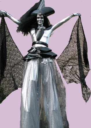 Silver Witch on Stilts by Chicks on Sticks