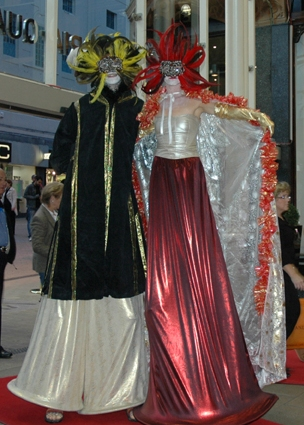 Masquerade Stiltwalkers based in South Yorkshire available through A.R.C. Entertainments