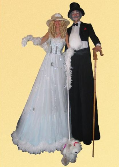 Victorian Lady and Gent on Stilts, Bride and Groom on Stilts
