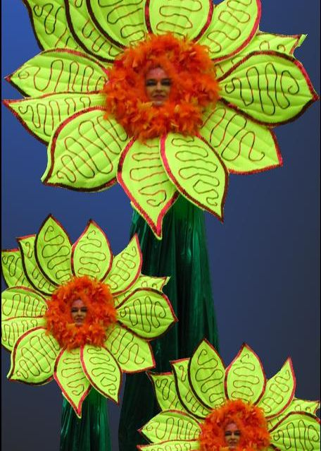 Sunflower Stilt Walkers based in South Yorkshire and available through A.R.C. Entertainments