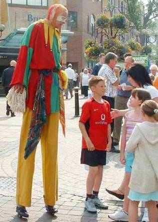 Bo the Clown as Bo Jest walkabout Jester on stilts suitable for medieval events