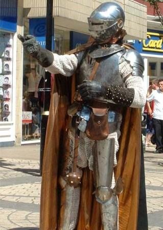 Bo the Clown as Sir Bo Clankalot knight in rusty armour available for medieval fayres and walkabout