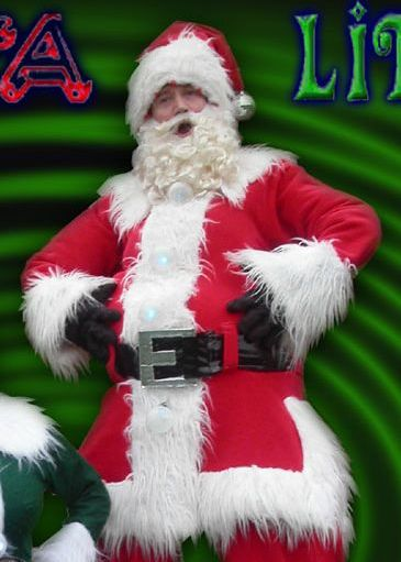 Glynn Corking, Stilt Walking Santa, Father Christmas, Disco Santa, based in Suffolk, East Anglia