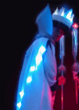 Glynn Corking, Stilt Walking Ice King, Ice Monarchy, Light up Costume ideal for Christmas, based in Suffolk, East Anglia