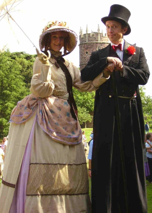 Victorian Lady & Victorian Gent on Stilts by Head for Heights