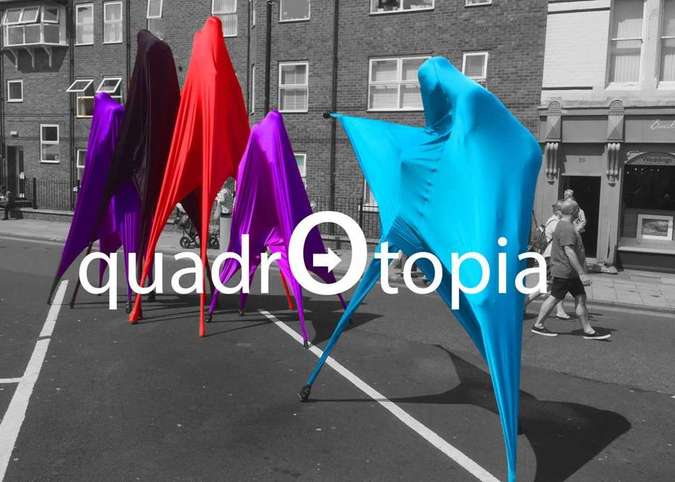 Quadrotopia stilt walkers by Neighbourhood Watch Stilt Walking International of Tyne & Wear