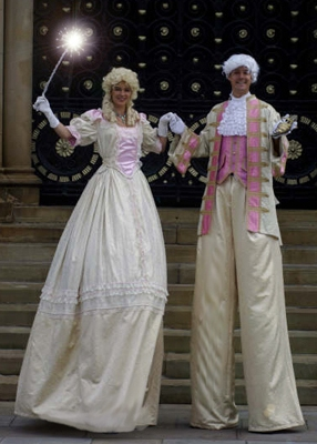 Cinderella & Prince Charming on Stilts based in South Yorkshire and available through A.R.C. Entertainments