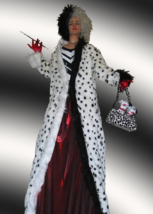 Cruella de Vil on Stilts suitable for Halloween, based in South Yorkshire and available through A.R.C. Entertainments