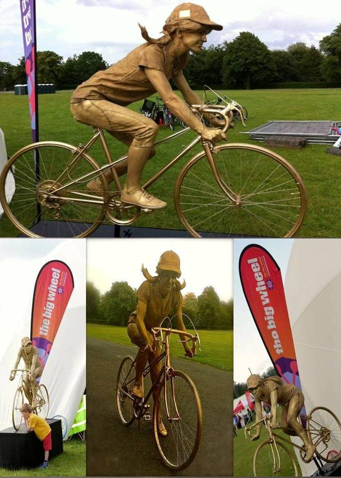 Sports Cycling Statue by Rachel Hyde living statue, human statue, South Yorkshire