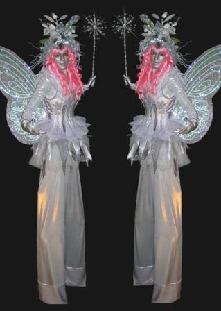 Frost Fairies on stilts based in South Yorkshire Silver Fairies