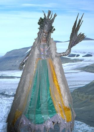 Light up Ice Maiden on Stilts based in South Yorkshire available through A.R.C. Entertainments
