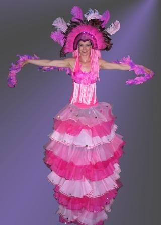 Showgirl on Stilts based in South Yorkshire and available through A.R.C. Entertainments
