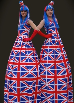 Union Jack Stilt Walkers by Rachel H