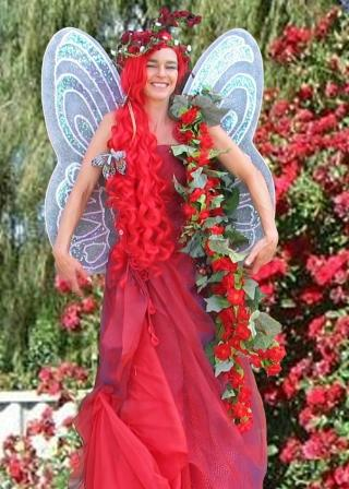 Rose Fairy on Stilts, Red themed Stilts costume based in South Yorkshire