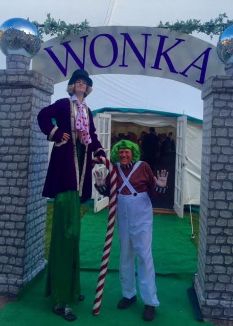Willy Wonka on Stilts with Umpah Lumpah Walkabout