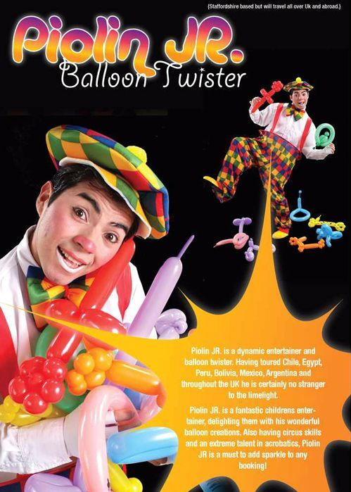 Rodrigo Perez as Poilin Jr Balloon Modeller and Circus Skilled Performer, Entertainers in Staffordshire, Entertainments in Staffordshire, Entertainers in Staffs, Entertainments in Staffs, Entertainers in UK, Entertainers in North, Entertainers in South, Entertainers in East, Entertainers in West, Entertainers in North East, Entertainers in South East, Entertainers in North West, Entertainers in South West, Entertainers in Scotland, Entertainers in London, Entertainers in Wales, Entertainers  in Midlands, A.R.C. Entertainments