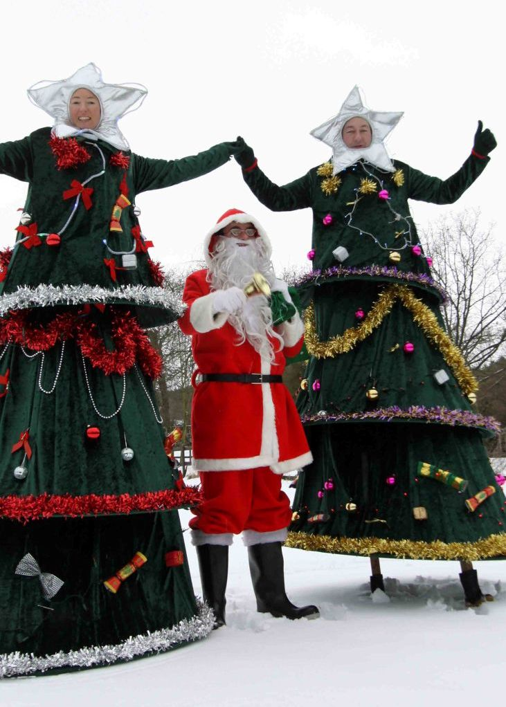 Christmas Tree Stilt Walkers by Upshot Circus from South Yorkshire