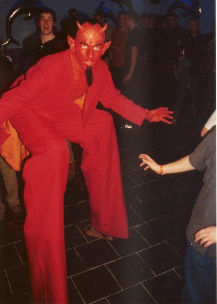 Devil on stilts Upshot Circus South Yorkshire