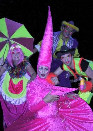 Fluorescent Costumes walkabouts for nightclubs, by Upshot Circus