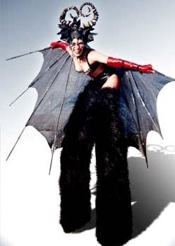 bat on stilts by Vertigo Stilts from Bristol