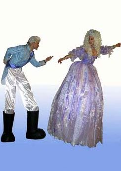 cinderella & prince charming on stilts