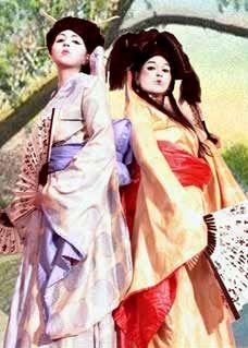 geisha stilt walkers by Vertigo Stilts of Bristol