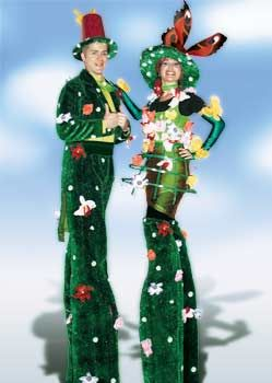 floral couple on stilts