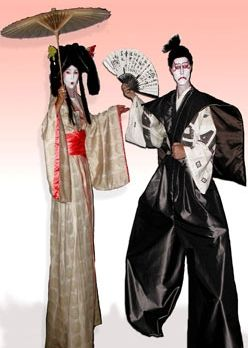 geisha & samurai on stilts