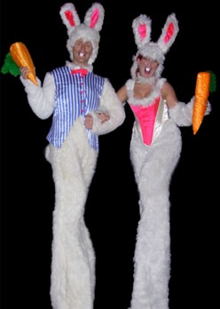 Mr & Mrs Bunny by Vertigo Stilts of Bristol