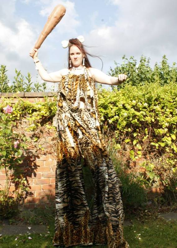Cavewoman Stilt walker Vicky Armstrong Tyne & Wear